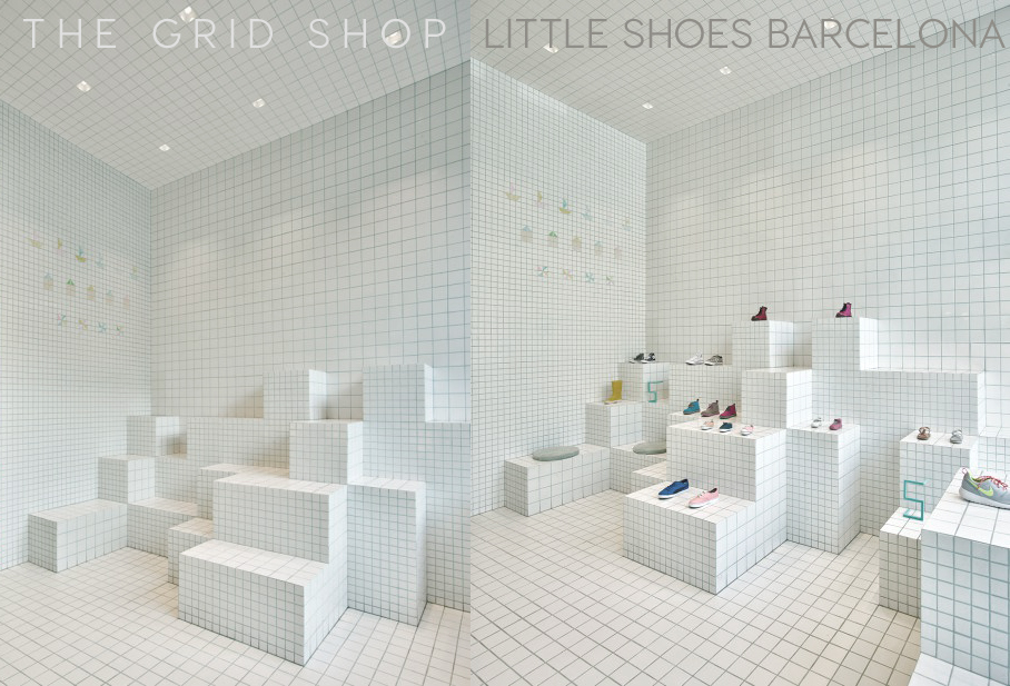 Pastel Interieur Barcelona : Store design idea: total white tiling little shoes in barcelona