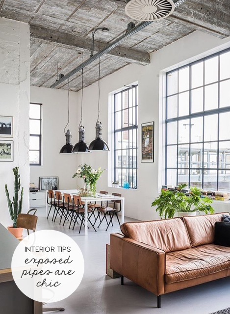 INTERIOR TIPS | When Exposed Pipes are chic not cheap | ITALIANBARK