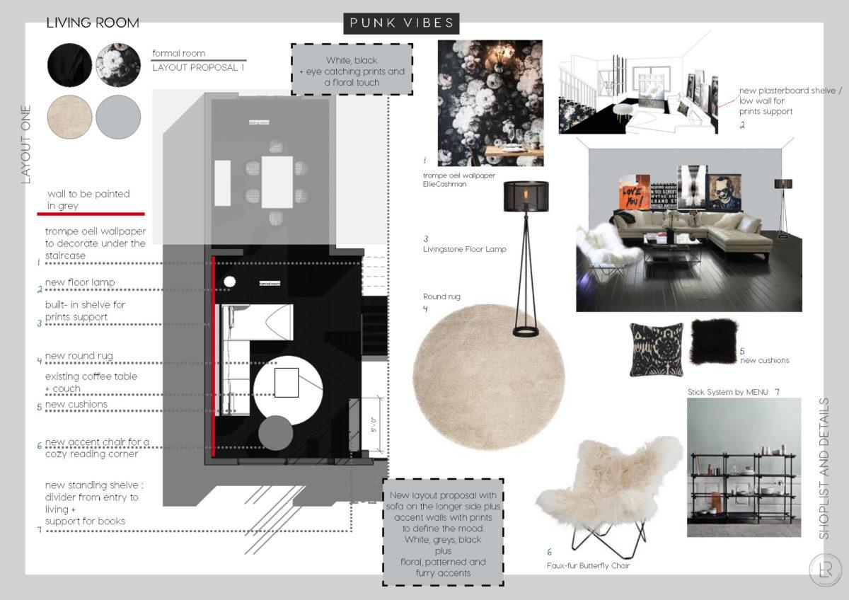 online interior design living room, e-design, italian interior design, italianbark, glam living room, punk interior style