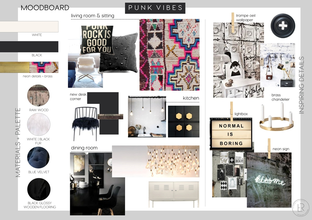 online interior design living room, e-design, italian interior design, italianbark, glam living room, punk interior style, moodboard