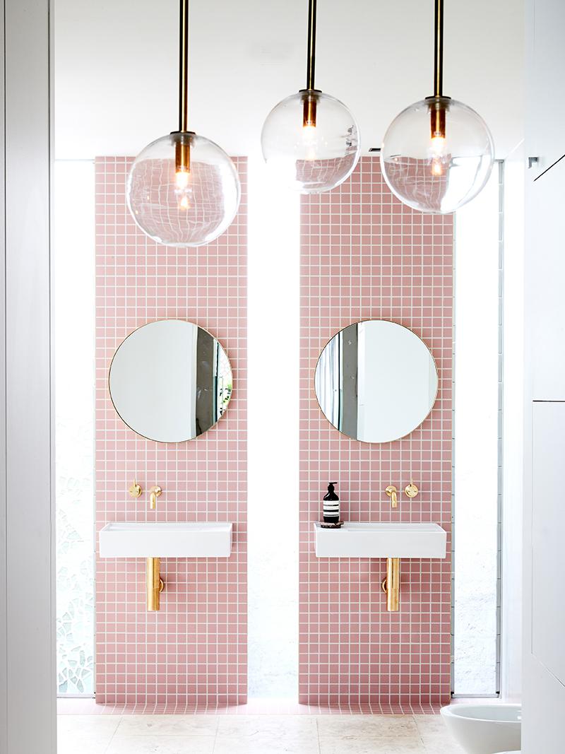 bathroom trends 2017, small bathroom trends, geometric bathroom style, italianbark, pink bathroom