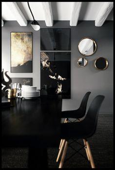 online interior design living room, e-design, italian interior design, italianbark, glam living room, dark living, black eames plastic