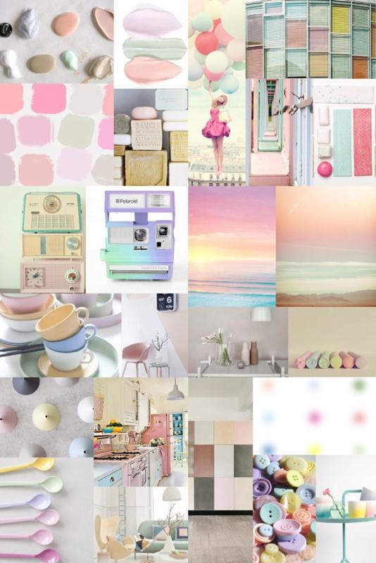 pastel moodboard, pastel interior trend, pastel home decor