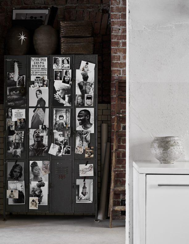 ecletic interior bricks, black wall moodboard