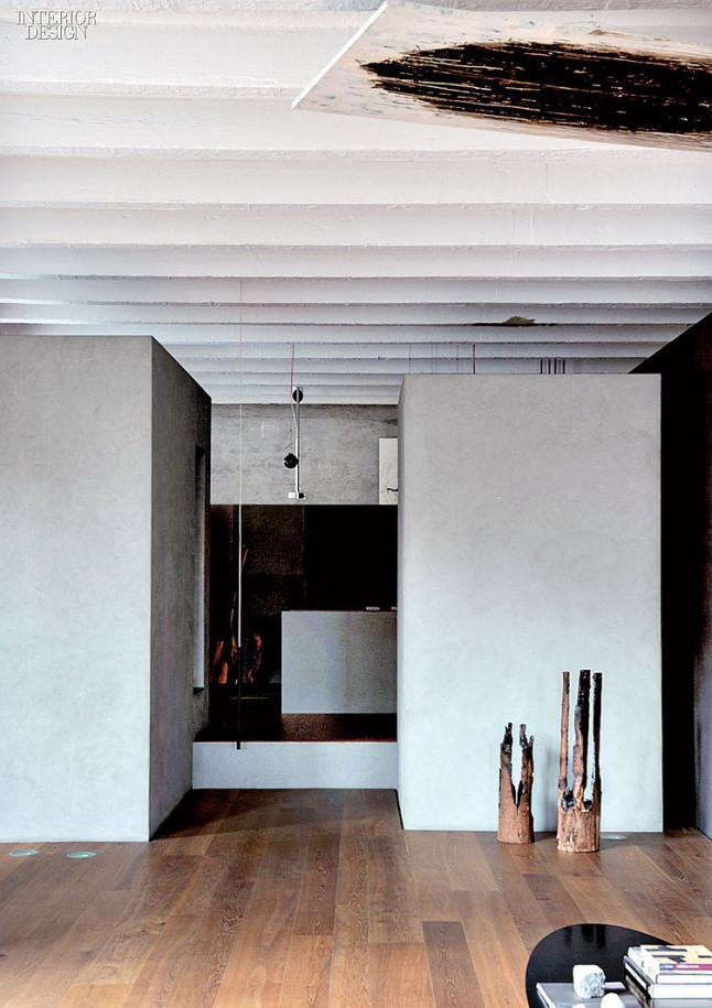 industrial style loft in como, living room