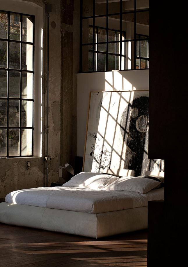 industrial style loft in como, bedroom, patricia urquiola bed