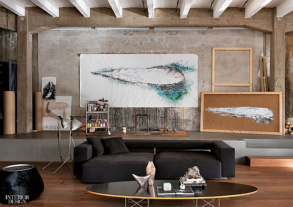 industrial style loft in Como, living room, paolo piva couch