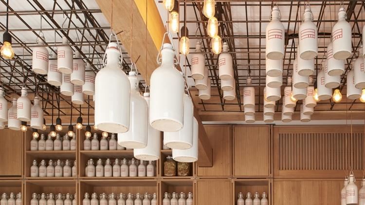 gamsei -buero wagner - bar design - ceiling grid suspended bottles