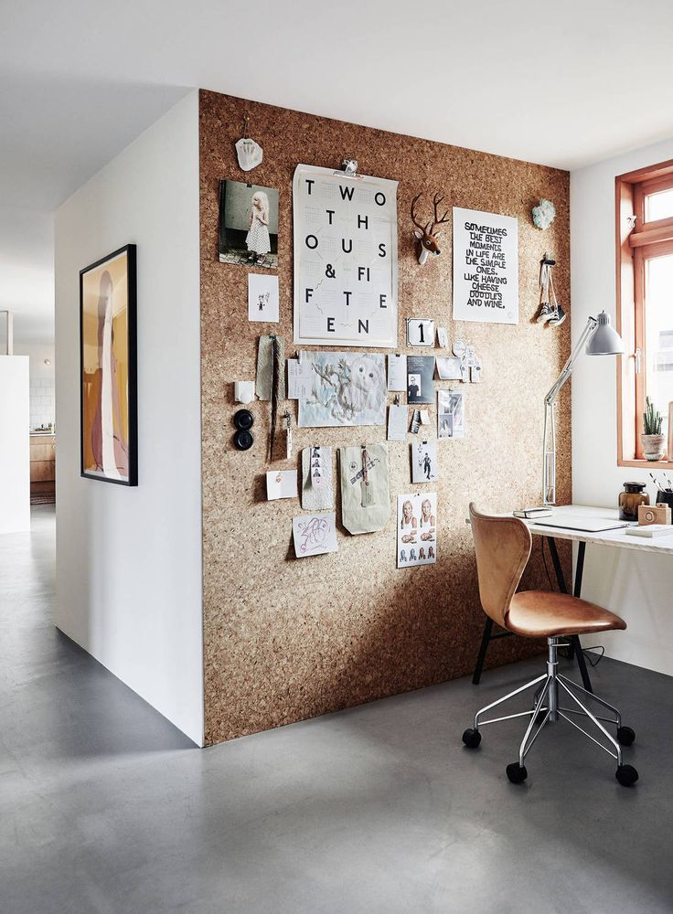 home office cork wall - monthly interior design inspirations