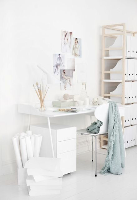 total white home office inspirations