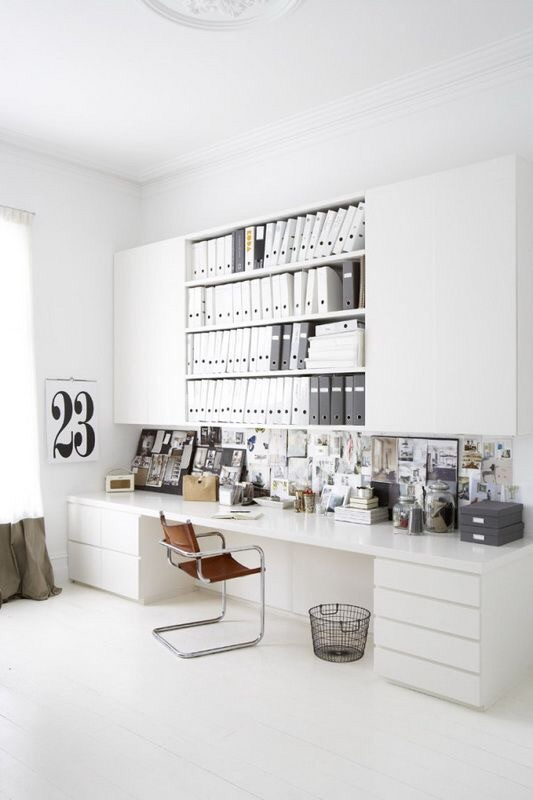 total white home office inspirations 3