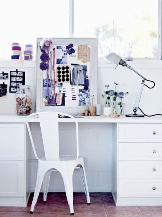 total white home office inspirations - tolix white chair