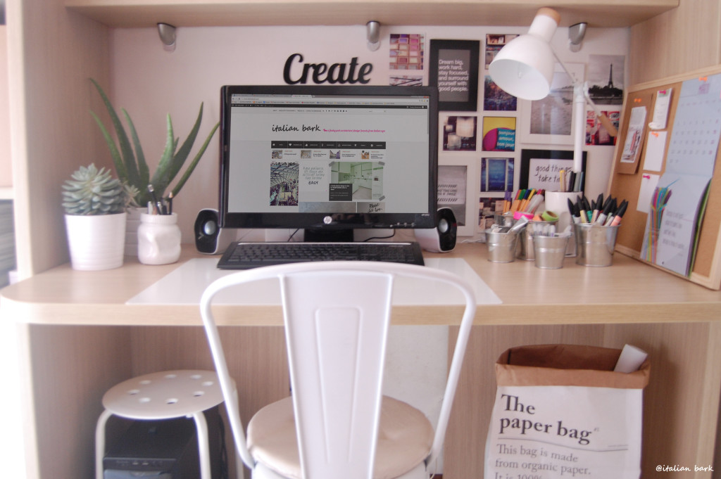 #myhomeoffice white home workspace, sac paper, tolix white chair, ikea office
