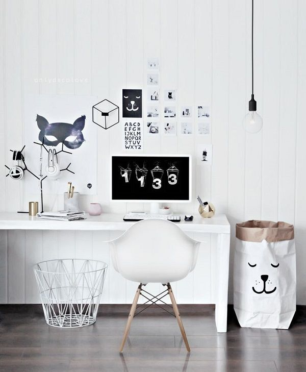 total white home office inspirations -