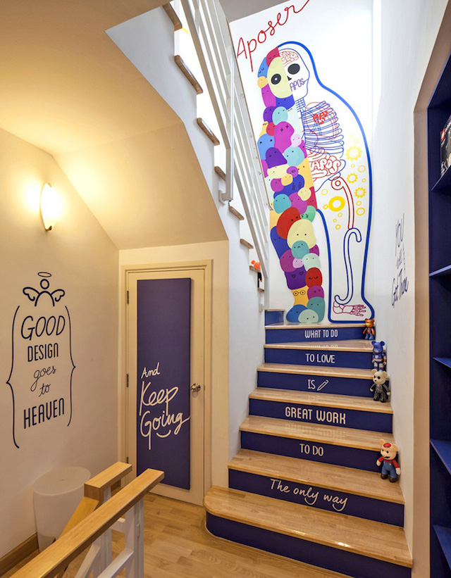 colourful office design in bankok - colourful staircase decor