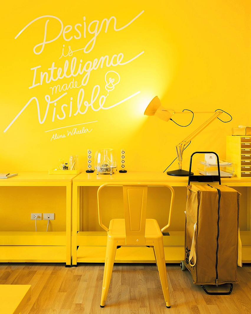 colourful office design in bankok - yellow office design