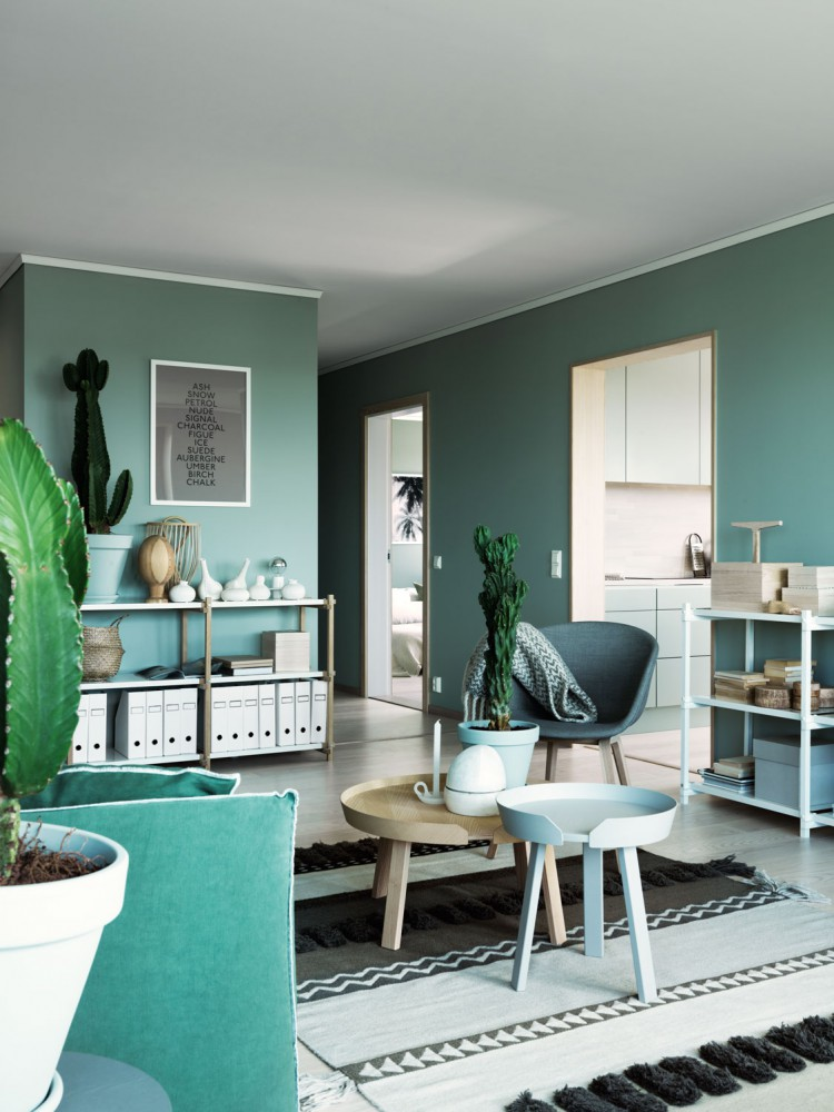 Green Wall Paint Dark Interior Trend