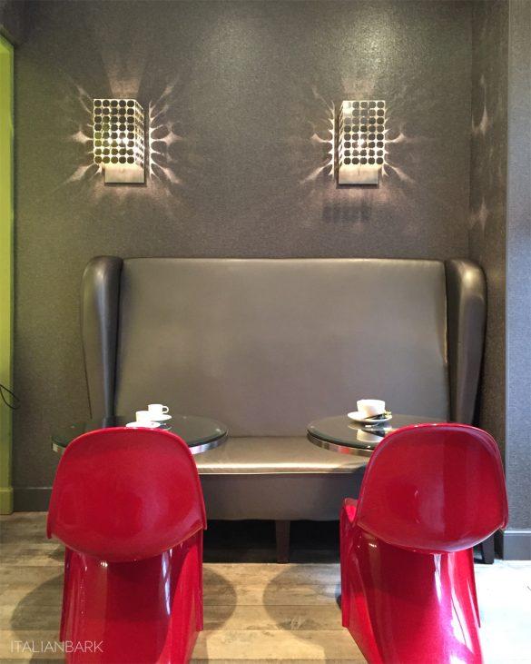 design hotel in Paris, le petit paris, boutique hotel Paris, , greu wallpaper, red panton chairs