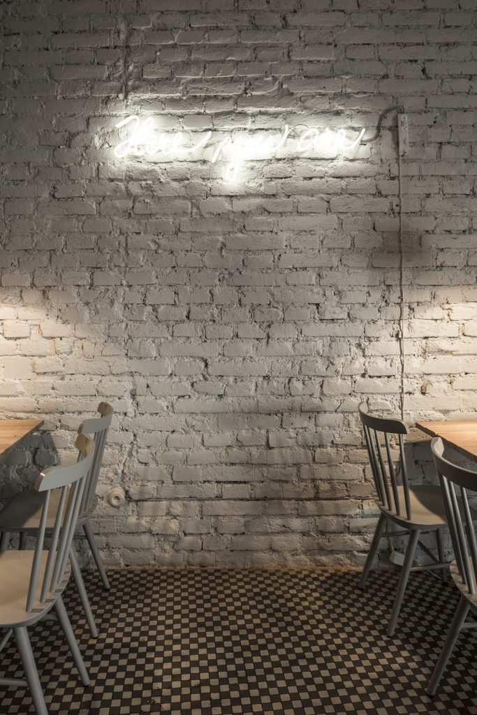 bistrot design in prague, coffee shop interior design ideas, neon sign