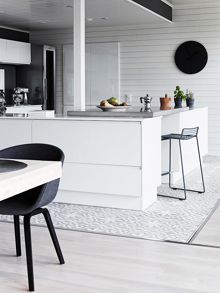 finnish home interior, finland home decor, wall gallery, black wall decor, total white kitchen, cucina bianca