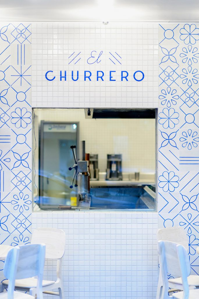 Mexican restaurant interior design, restaurant concept design, blue restaurant sign, restaurant sign design idea, sign design in blue, churrero design,