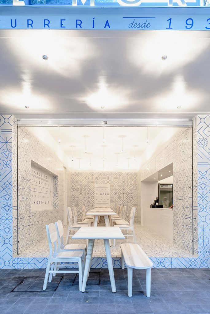 restaurant design concept, blue and white interior, wall pattern idea, wall pattern azulejos, blue white wall patter, blue white wall decor, interior design restaurant, mexican restaurant design