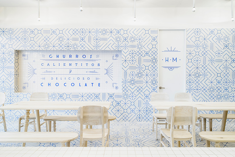 Mexican restaurant interior design, restaurant design concept, blue and white interior, wall pattern idea, wall pattern azulejos, blue white wall patter, blue white wall decor, interior design restaurant, mexican restaurant design