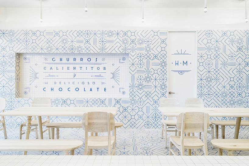 Mexican restaurant interior design, restaurant design concept, blue and white interior, wall pattern idea, wall pattern azulejos, blue white wall patter, blue white wall decor, interior design restaurant, mexican restaurant design