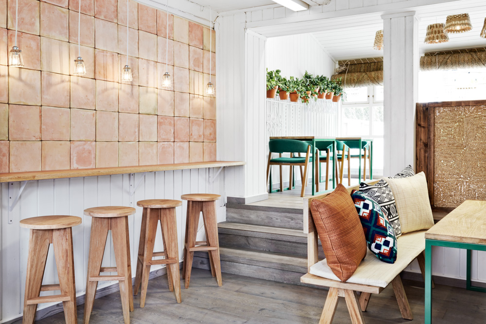 restaurant design in oslo, restaurant design sweden, cool restaurant design , masquespacio, white green design, spanigh restaurant design, ikat decor