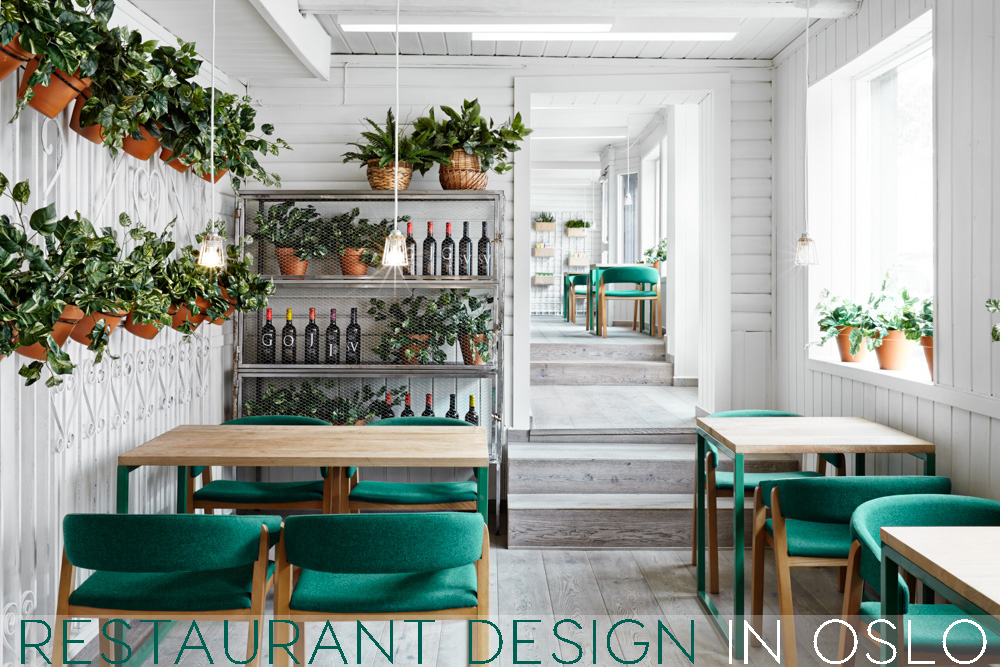 restaurant design oslo, restaurant design, spanish restaurant design, restaurant interior ideas, green white interior, green chairs, missana, masquespacio, scandinavian style restaurant, wall decor with pot,
