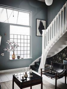 scandi home tour, unconventional scandi interior, italianbark interiordesign blog, green wall paint, floral wallpaper, home decor flowers, indigo wall