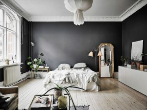 Coloured walls at home, wall painting ideas - ITALIANBARK, interior design blog, , black bedroom, black interior, black wall