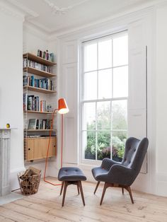 reading corner ideas, relax corner, living room, blue armchair, orange floor lamp