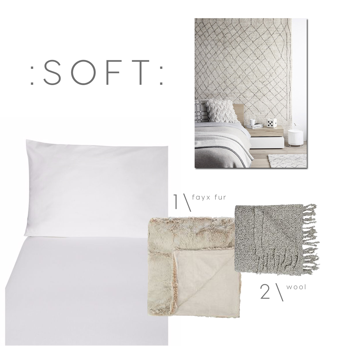 white bed styling, white bed ideas, bed linens shopping, blankets wool