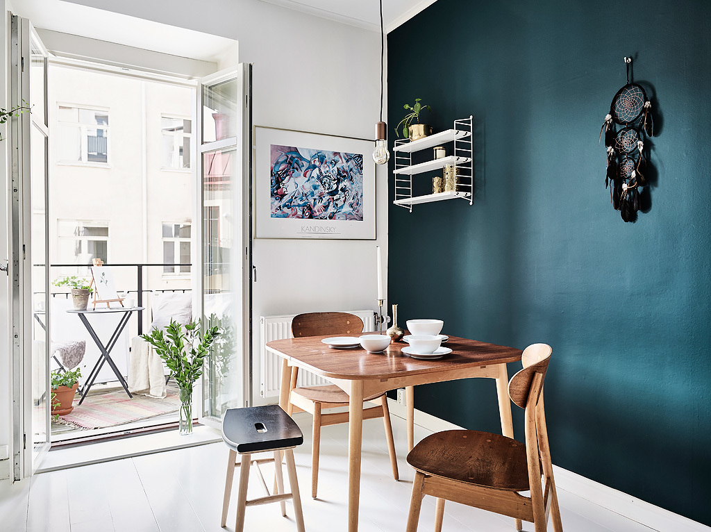dark teal wall