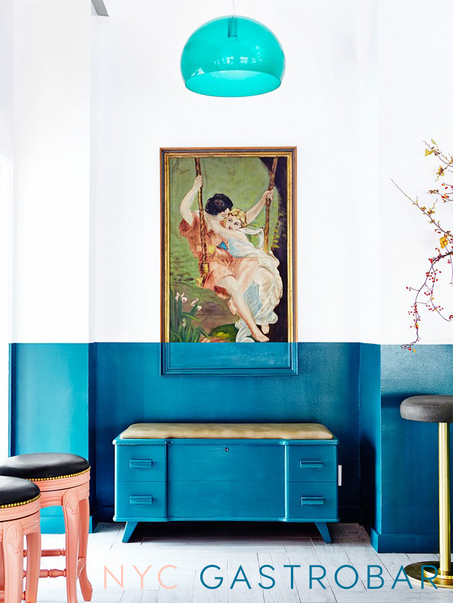 bar design, gastrobar, bar interior, restaurant design, design bar ny, blue wall, blue wall decor, ly kartell, turquoise lamp, brass stool