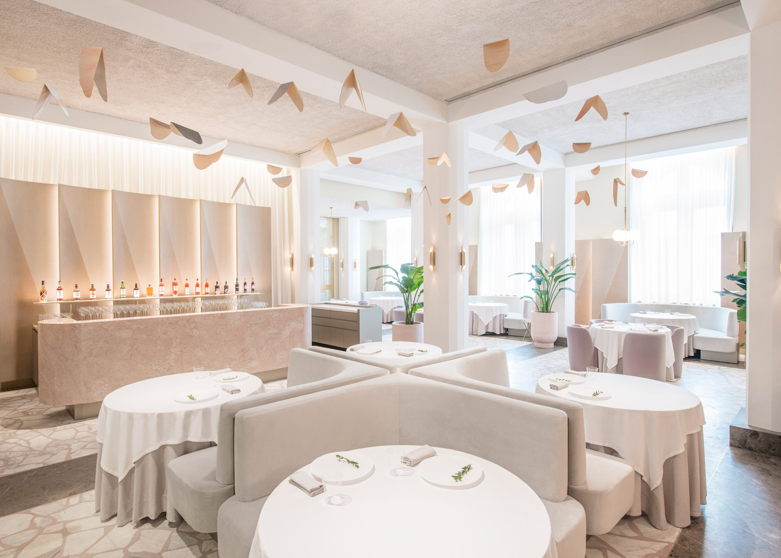 a design restaurant in singapore in powder pink