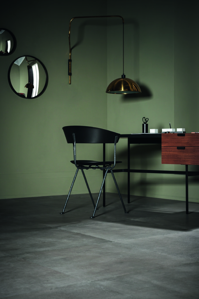 dark interiors, moody interior trend, marazzi, marazzi powder, concrete effect tiles