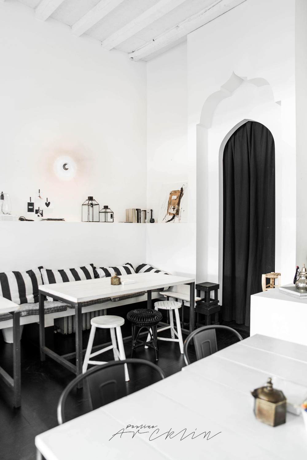design restaurant in milan, italian interiors, italian interior design, italian design restaurant, paulina arcklin, riad food garden , black white restaurant design, ethnic chic, ethnic scandinavian, scandi boho, scandinavian style restaurant, tine k home, black white decor