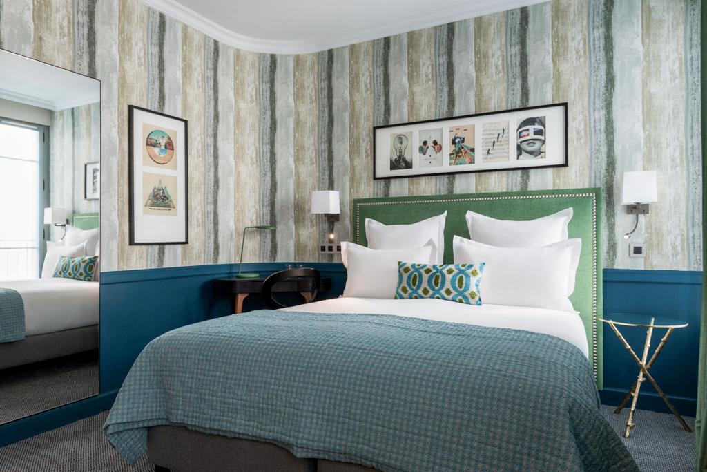 boutique hotel paris, adele et jules, italianbark interior design blog, hotel bedroom , green headboard
