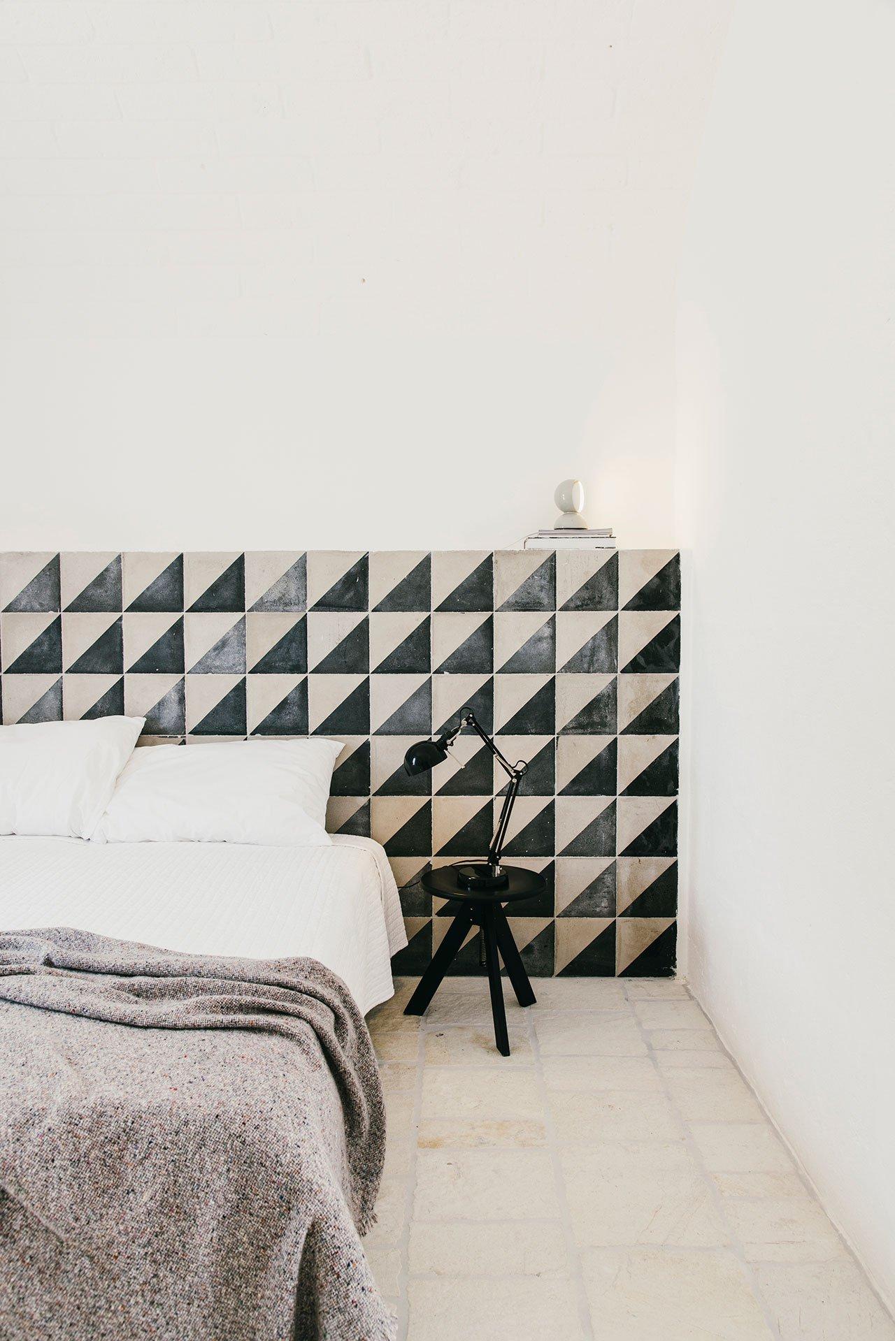 masseria design, italian interiors, puglia design, italianbark interior design blog, masseria moroseta, headboard decor tiles