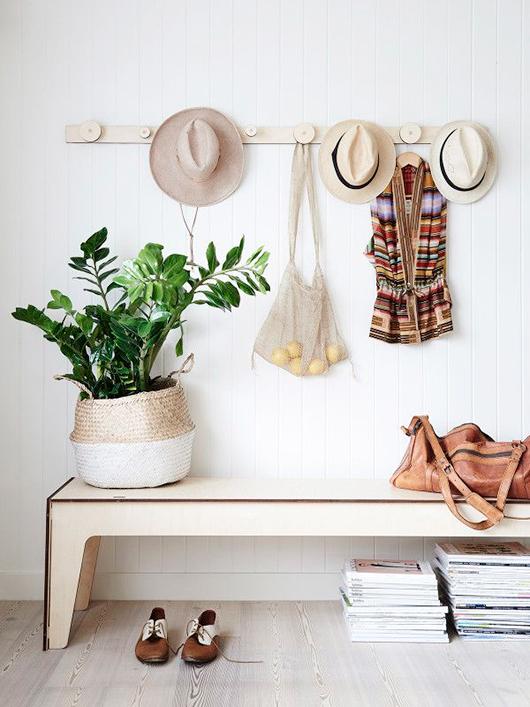 straw hats decor, boho chic interior style, italianbark interior design blog