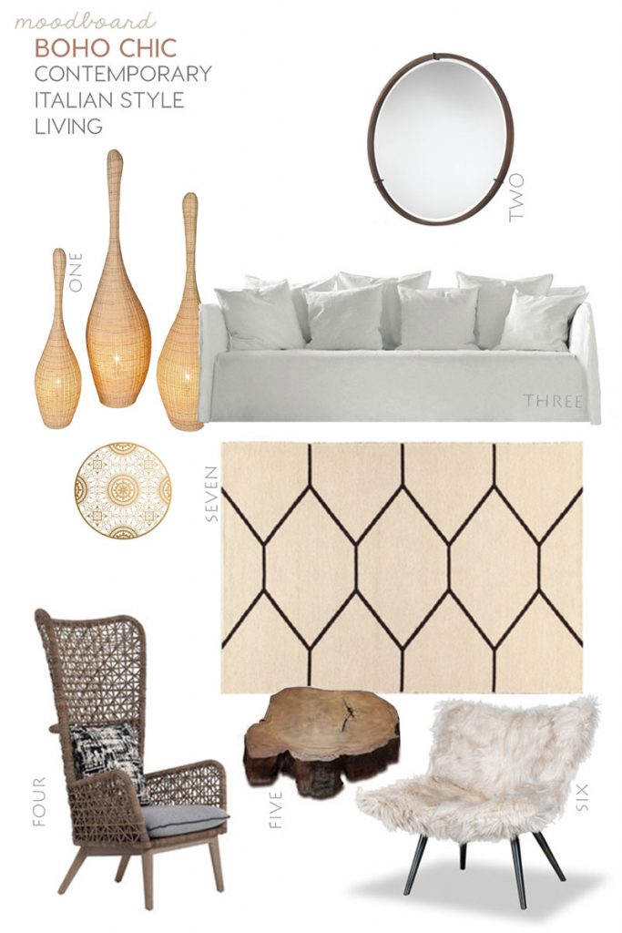 italian interior trends, boho chic style, moodboards, shop furniture milan, sag80, italianbark