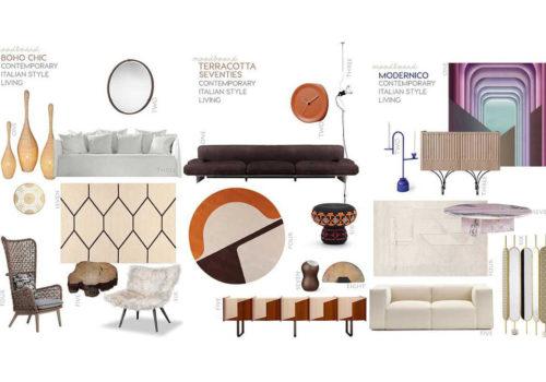 italian interior design trends, boho chic, modernico