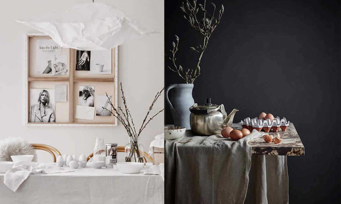 Decorating Home For Easter In White, Black, Pink. INTERIORS