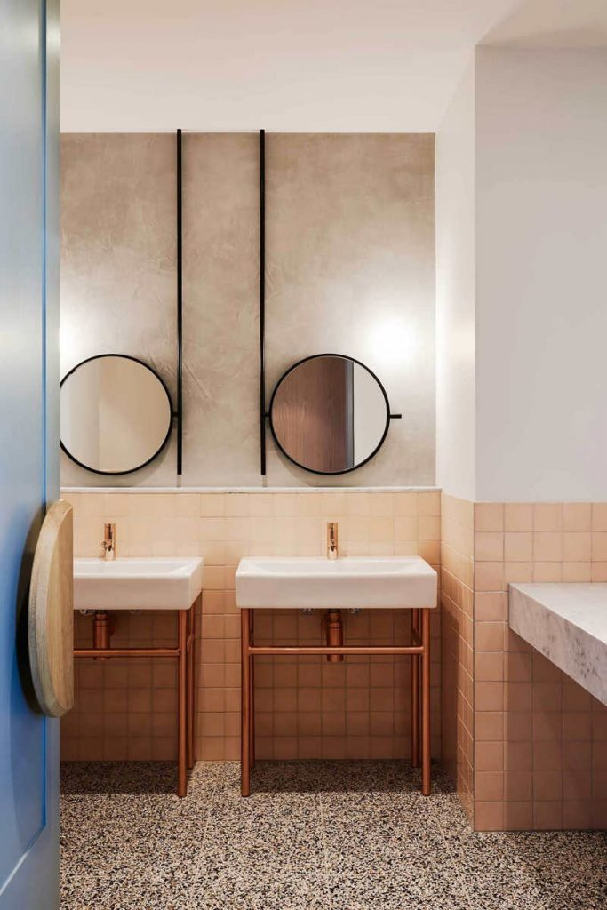 orange wall tiles, orange color trend, pastel interior, toilet design idea, italianbark interior design blog