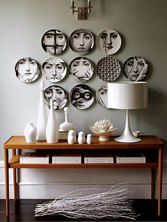 italian design fornasetti style, italianbark interior design blog, piero fornasetti, fornasetti milan, fornasetti plates