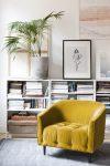 mustard yellow interior design color trend, italianbark interior design blog, yellow home decor, yellow armchair