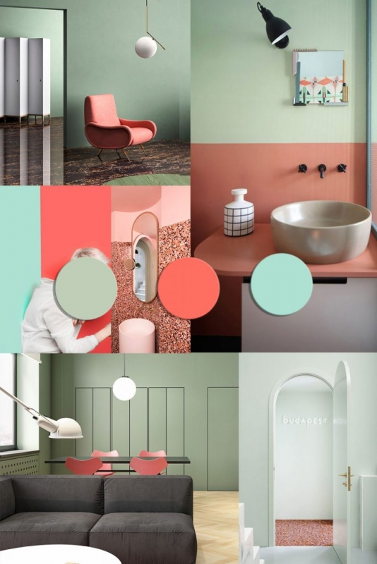 color trends 2020 interiors, pantone 2019 living coral, interior trends, italianbark interior design blog, mint, coral