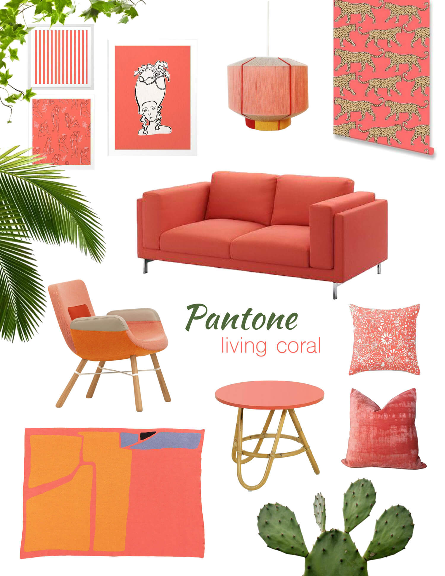 top furniture and Home decor products in Pantone 2019 Living Coral